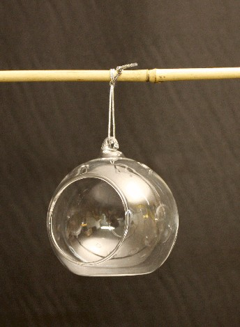 Round Hanging Glass Candle Holder Basket And Flowers