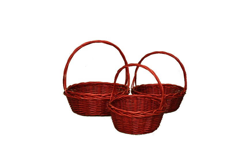 Round Baskets Set Of 3 Basket And Flowers